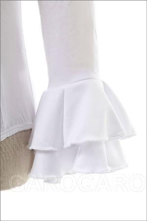 お子様用袖付きレオタード 白 フリル袖 [フラメンコ用][スペイン直輸入][送料無料]