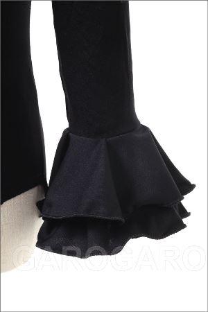 お子様用袖付きレオタード 黒 フリル袖 [フラメンコ用] [スペイン直輸入] [送料無料]