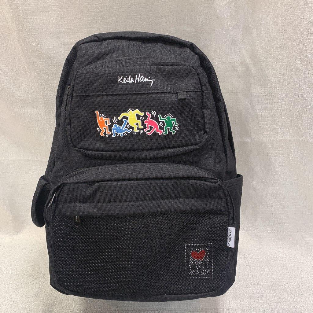 キースへリング Keith Haring リュックサック デイパック 人気 A4サイズ収納可能 通学 通勤 ブランド 学校 黒