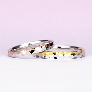 結婚指輪ペア【 ツーウェイ 】プラチナとゴールドのコンビ。プラチナ単色としても使えます。Mp4OM-257-258