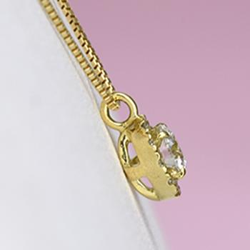 ダイヤ取り巻きデザインの可愛いダイヤモント゛ペンダント K18  P124-18-K