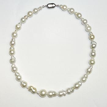 【フェア特価】希少!南洋白蝶真珠 バロック-マルチカラーパールネックレス