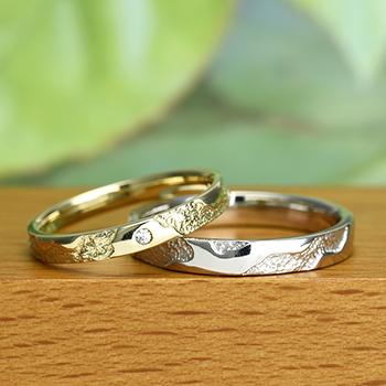 【 スーパーハードプラチナ/K18 】結婚指輪ペア  個性的でお洒落なリング  男性用は変形やキズに非常に強く丈夫なスーパーハードプラチナ