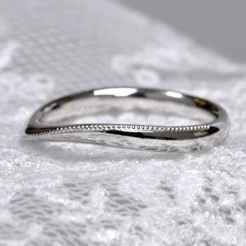 結婚指輪ペア  MpS1YS 丁寧にミル打ちを施した緩いカーブの高級な指輪