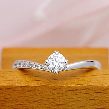★高級!特別価格★【0.3ct,D,VVS1,3EX,H&C】脇石に天然ピンクダイヤとH&Cダイヤを使った高品質の婚約指輪 ES1NZKph