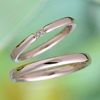【ブライダル3点セット】 シンプルデザインのPtダイア婚約指輪とK18PG結婚指輪 Bs2X73Bps20Pt-DS0833PG