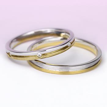 【 スーパーハードプラチナ/K18 】結婚指輪ペア  女性用リングの全周に入ったダイヤがエレガント!変形やキズに非常に強く丈夫!