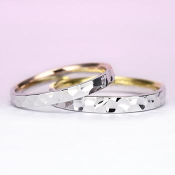 結婚指輪ペア【 ツーウェイ】プラチナとゴールドのコンビ。プラチナ単色としても使えます。MpTAM-257-258
