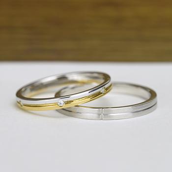 結婚指輪ペア  プラチナ/K18  女性用リングの全周に入ったダイヤがエレガント!