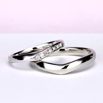 結婚指輪ペア[ プラチナ] 女性用はピンクダイヤとH&Cカットのダイヤで作った引っ掛かりの少ない精巧な作りの高級な指輪, MpNJ15L改p1h6-M