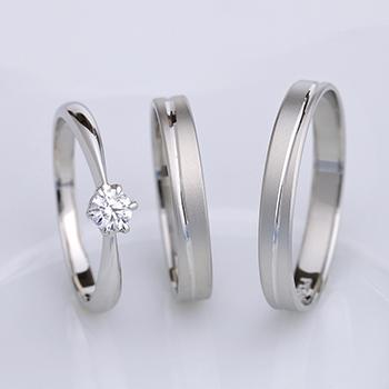 【Truelove】高品質ダイヤ婚約指輪と[鍛造]結婚指輪の3点セット プラチナ製 Bs1007P272-0.20,D,SI1,3EX,HC