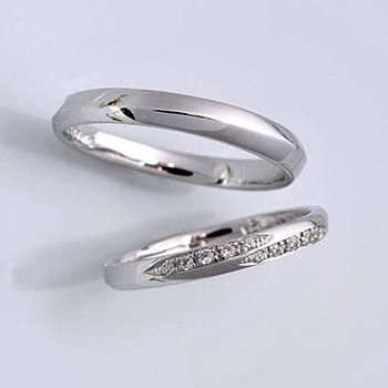 結婚指輪ペア ストレートタイプのモダンなデザインのプラチナリング MpG7KZ37LM-Pt900H