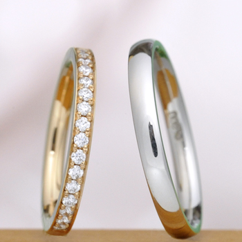 【永遠 Towa 】結婚指輪ペア Pt  H&Cカットダイアのハーフエタニティーリングと手づくりリングMpHE-H16p02hAPG-HKPt