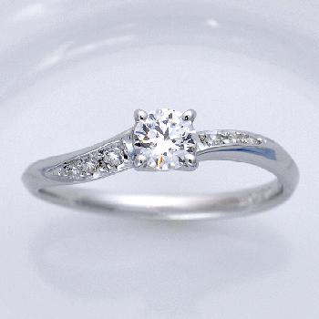 婚約指輪 Pt お洒落なカーブライン  高品質ダイア0.2ct,D,VS2,3EX,H&C EG9009-20F1-PT