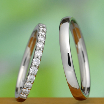 【永遠 Towa 】結婚指輪ペア H&Cカットダイアのハーフエタニティーリング Pt900 、メンズは丈夫な手作り