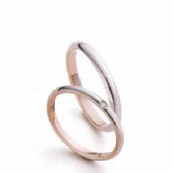 【Marie et Marie マリ・エ・マリ】結婚指輪 ダイア有1点  K18PG/Pt950  細身のストレートデザインのリング  MpMeM-108