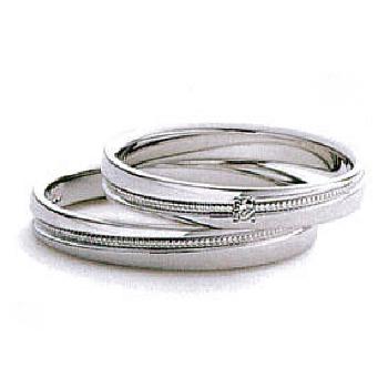 【Marie et Marie マリ・エ・マリ】結婚指輪 ダイア無1点  Pt950  斜めにミル打ち加工を施したストレートデザインのリング  MpMeM-06