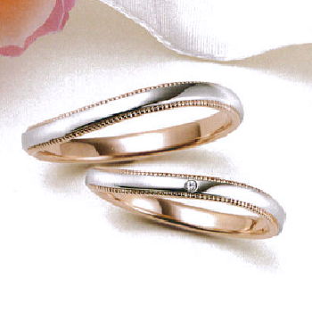 【Marie et Marie マリ・エ・マリ】結婚指輪 ダイア有1点  K18PG/Pt950  ミル打ち加工を施した緩やかなカーブデザインのリング  MpMeM-114