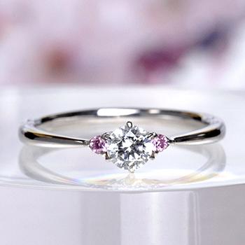 ★特別価格★婚約指輪  Pt  両サイドにピンクサファイアをセットした細くてかわいいダイヤモンド指輪 EG22X73Bps-18GH6-Pt