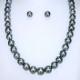 [黒蝶真珠ネックレス+イヤリング(ピアス)] グリーンがかったグレイの照りの良い真珠