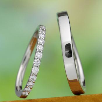 ★特別価格☆【永遠 Towa 】Pt  緩やかなカーブのH&Cカットダイヤのエタニティーリング、メンズはプラチナをたっぷり使った高級リング MpNJ118LhA-M-Pt