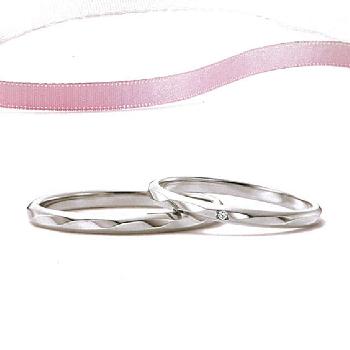 【Marie et Marie マリ・エ・マリ】結婚指輪 ダイヤ有1点  Pt950  ストレートデザインのミラーカットリング  MpMeM-116