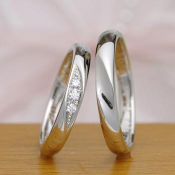 【月の鏡 Tsuki no kagami】MpM43MK-SL   プラチナを贅沢に使った指輪  レディースにはH&Cダイア入り