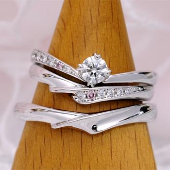 ブライダル3点セット 重ね着けした時さらに魅力的。天然ピンクダイヤを使った高級な指輪  BsS101p-20DG1