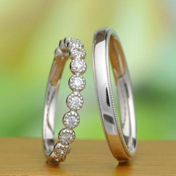 【永遠 Towa 】(高品質)Pt結婚指輪ペア  H&Cカットダイヤのハーフエタニティーリングと手づくりリングMpJTME01hAA-HKm-Pt