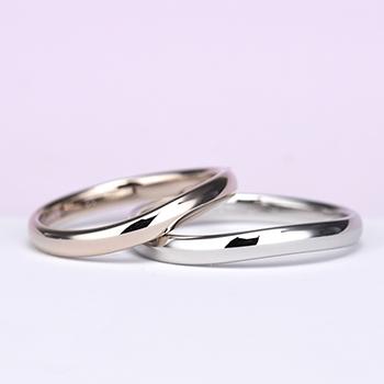 結婚指輪ペア 【 鍛造 】シンプル!変形やキズに非常に強い高品質鍛造、女性用は珍しい上品な淡いピンクゴールド、ゆるやかなカーブデザインリング
