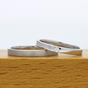 """★特別価格★【絆 ツインダイヤモンド】ふたりの""""つながり"""" をいつも感じる ツインダイヤモンドをお互いの指輪にセット  結婚指輪ペア (プラチナ)"""