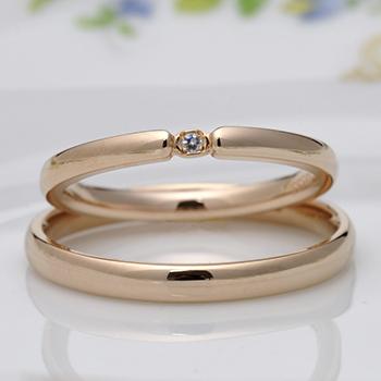 【ブライダル3点セット】 シンプルデザインのPtダイア婚約指輪とK18PG結婚指輪 Bs2X73Bps18Pt-DS0833PG