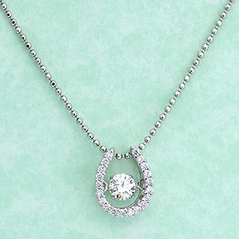 ★特別価格★【ダンシングストーン】馬蹄形(幸運・幸福を招くと言われる)ダイヤペンダント−Pt  高級ダイヤモンド