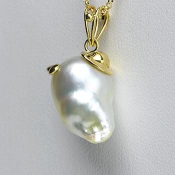 白蝶真珠ペンダントトップ  自然の形を利用した かわいい小鳥のデザイン  PSC-kotori01