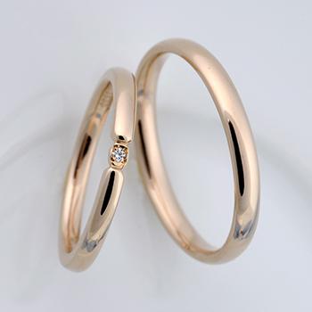 結婚指輪ペア  K18PGのシンプルデザインリング  MpDS0833-PG
