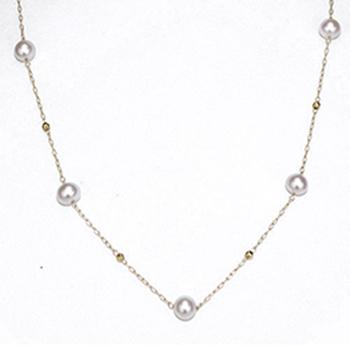★創業36周年記念特別価格★パールステーションネックレス(ピンク系のきれいなアコヤ真珠)5mm