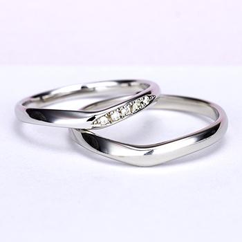 結婚指輪ペア  Pt 女性用はH&Cカットのダイヤで作った引っ掛かりの少ない精巧な作りの高級な指輪, MpNJ15L改h5-L
