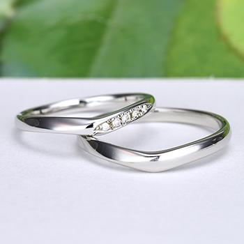 結婚指輪ペア  Pt 女性用は引っ掛かりの少ない精巧な作りの高級な指輪, MpNJ15L改n5-L