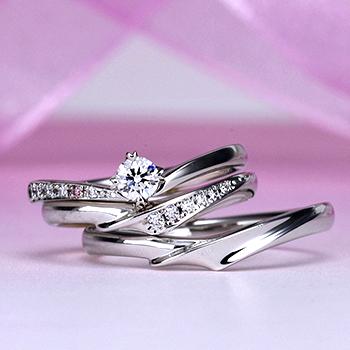 ブライダル3点セット  重ね着けが更に魅力的。天然ピンクダイヤを使った高級な指輪 BsS101p-20FF1