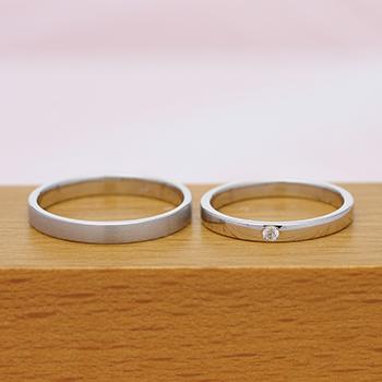 """【絆 ツインダイヤモンド】ふたりの""""つながり"""" をいつも感じる ツインダイヤモンドをお互いの指輪にセット  結婚指輪ペア (プラチナ)"""