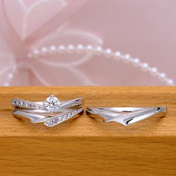 ブライダル3点セット  重ね着けした時さらに魅力的。ピンクダイヤとH&Cダイヤを使用した贅沢なつくり BsS101ph-25DE1