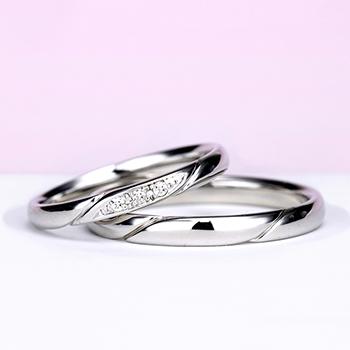 結婚指輪ペア Pt お洒落なストレートデザイン【H&Cダイヤ】女性用はダイヤの部分が滑らかで引っかかりが少ないので長年使用する結婚指輪に相応しい MpO11DAhO13