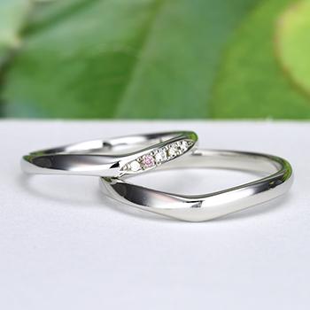 結婚指輪ペア【ハードプラチナ】女性用はピンクダイヤとH&Cカットのダイヤで作った引っ掛かりの少ない精巧な作りの高級な指輪, MpNJ15L改p1h4-L-HP
