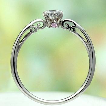 ★特別価格☆ 【可憐 Karen】婚約指輪 Pt シンプルデザインで、横から見るとピンクダイアと透かし模様がエレガント 0.30ct,D,VS2,3EX,H&C