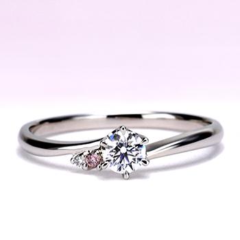 最高級品質!緩やかなカーブの3点セット、女性用は可愛いピンクダイヤ入り、重ね着けで更にキレイ 0.20ct,D,IF,3EX,H&C
