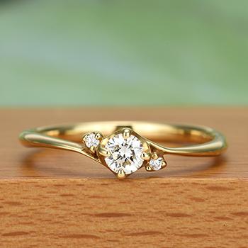 ダイヤモンド婚約指輪【K18YG】  K18人気のリングをリーズナブルに!ESC0819-K18-18HG5
