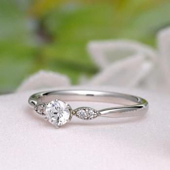 婚約指輪   プラチナ製ダイアモンドリング  繊細なミル打ちデザインの上品な指輪  EJTDS171-20DH6