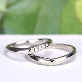 結婚指輪ペア  Pt 女性用はH&Cカットのダイヤで作った引っ掛かりの少ない精巧な作りの高級な指輪, MpNJ15L改h5-MB