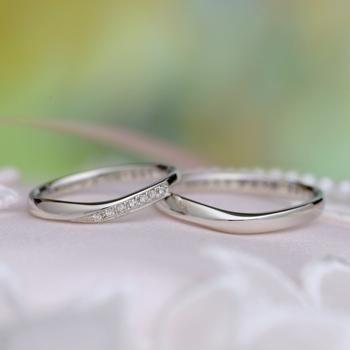 【Harmony 】結婚指輪ペア   細めで緩やかなカーブの指輪  内側にブルーサファイヤ入り MpHa01ML