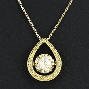 【ダンシングストーン】1カラット ダイヤペンダント−K18YG ミル打ちデザイン  大粒ダイヤモンド